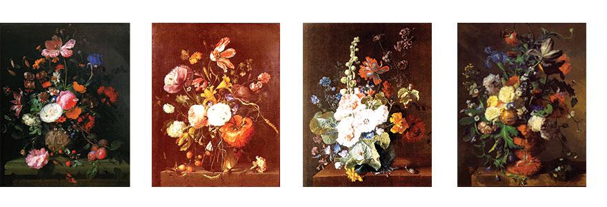 tableaux anciens de fleurs